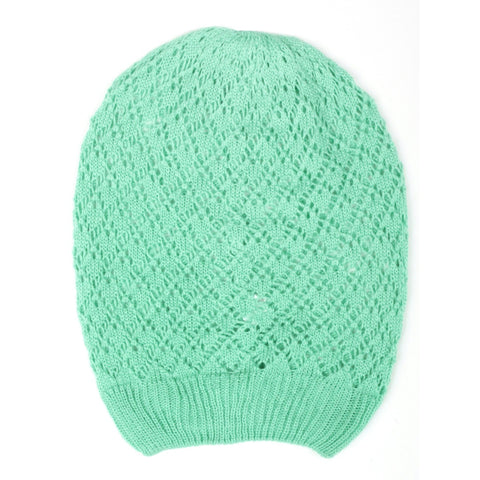 Mint Diamond Crochet Lightweight Beanie Hat