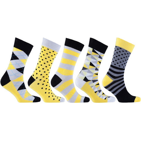 Men's 5-Pair Colorful Mix Socks-3032