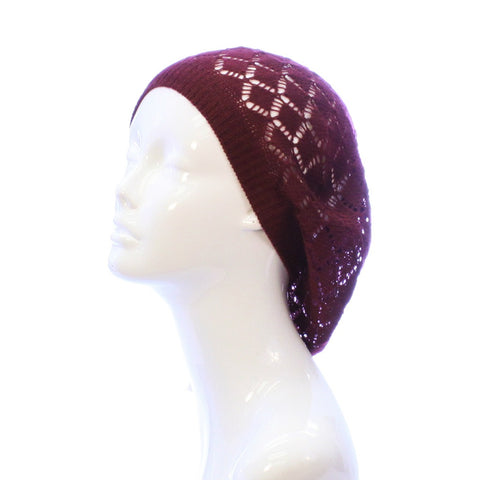Womens Diamond Weave Flower Beanie