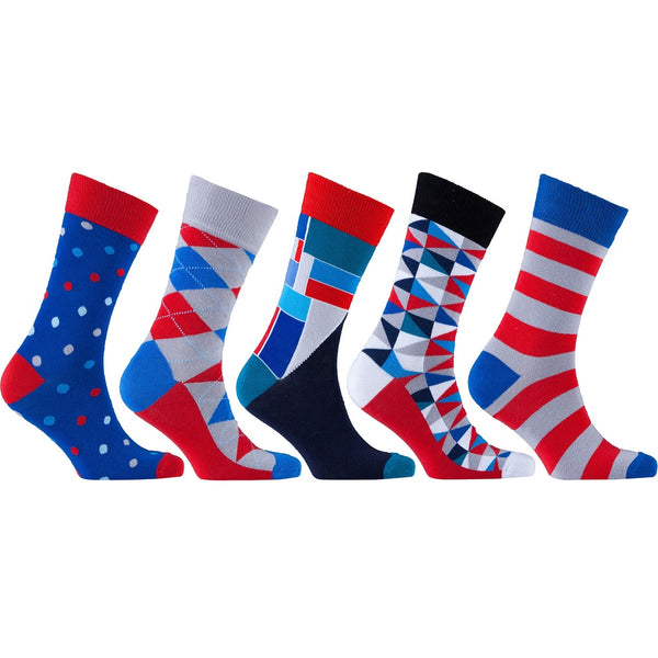 Men's 5-Pair Colorful Mix Socks-3030