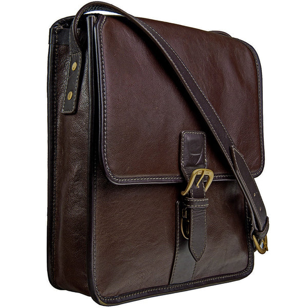 Hidesign Harrison Buffalo Leather Vertical Messenger