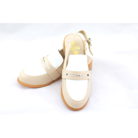 Michelle beige masculine penny ball flats