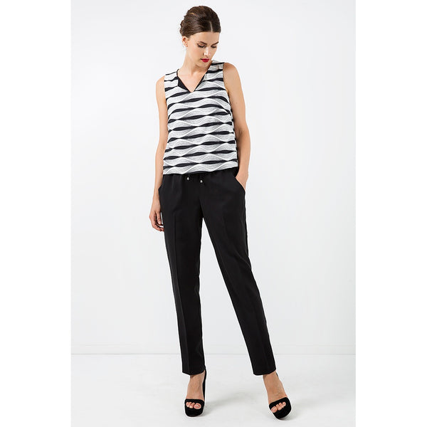 Long Black Pants with Tie Detail