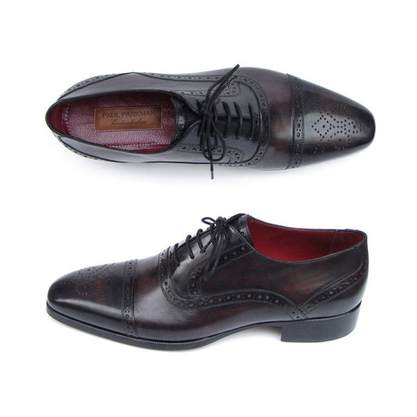 Paul Parkman Men's Captoe Oxfords Bronze & Black Shoes (ID#77U844)