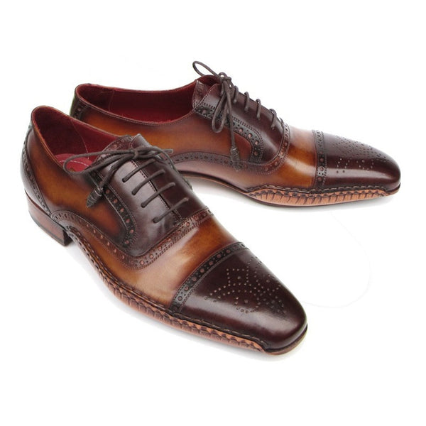 Paul Parkman Men's Captoe Oxfords Brown Shoes (ID#5032-BRW)
