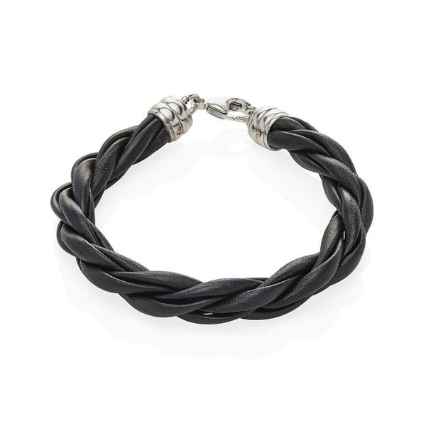 Men's Black Twisted Leather Bracelet