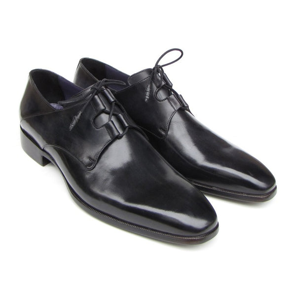 Paul Parkman Men's Ghillie Lacing Plain Toe Black Shoes (ID#076-BLK)