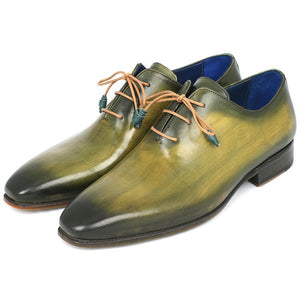 Paul Parkman Wholecut Plain Toe Oxfords Green Hanpainted Leather (ID#755-GRN)