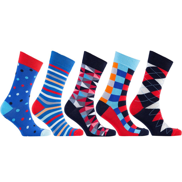 Men's 5-Pair Funky Mix Socks-3029