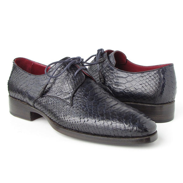 Paul Parkman Men's Navy Genuine Python Derby Shoes (ID#66CK94-NAVY)