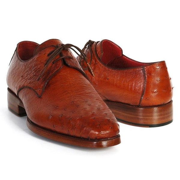 Paul Parkman Men's Tobacco Color Genuine Ostrich Leather Upper Derby Shoes (ID#33B76-TAB)