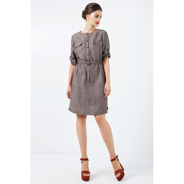Straight Brown Linen Dress with Belt Detail