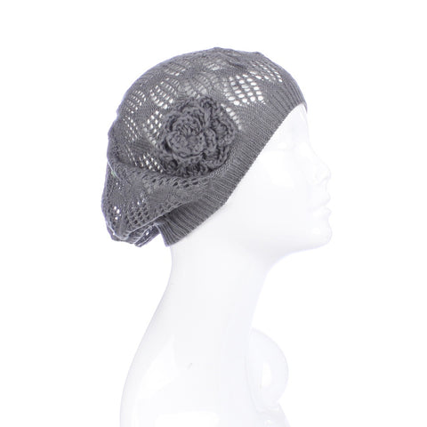 Womens Mini Square Flower Beanie