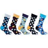 Men's 5-Pair Cool Polka Dot Socks-3009