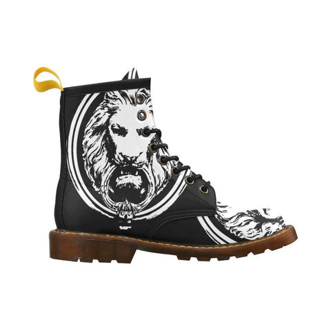 Mens Large Black & White Lion Lace up Boots