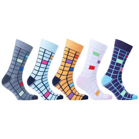 Men's 5-Pair Fun Patterned Socks-3056