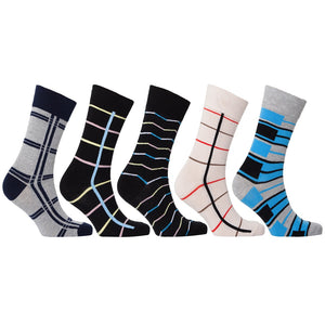 Men's 5-Pair Cool Patterned Socks-3051