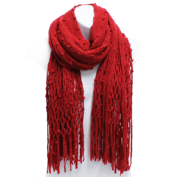Burgundy Red Winter Knit Fish Net Weave Oblong Scarf with Fringe