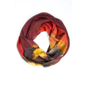 Ethereal Mixed Silk Infinity Scarf: Burgundy, Chocolate and Sunshine
