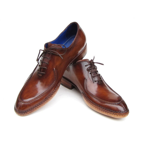 Paul Parkman Men's Side Handsewn Split-toe Brown Oxfords (ID#054-BRW)