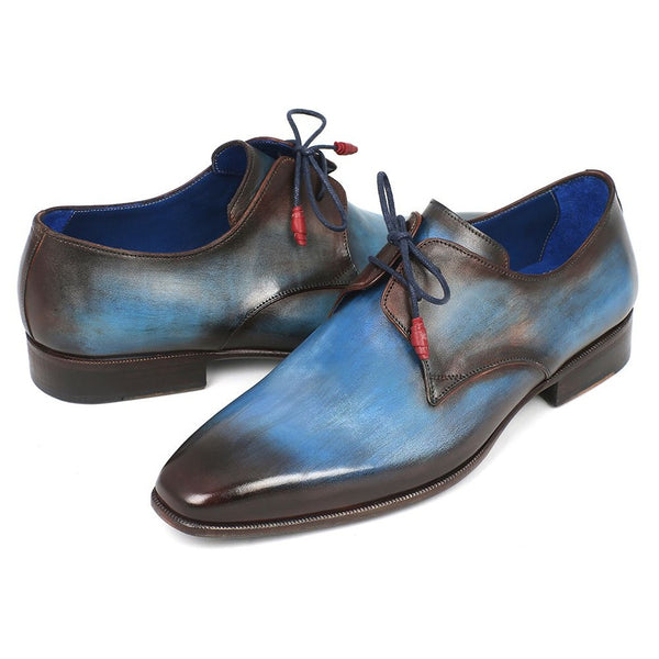 Paul Parkman Men's Blue & Brown  Derby Shoes (ID#326-BLU)