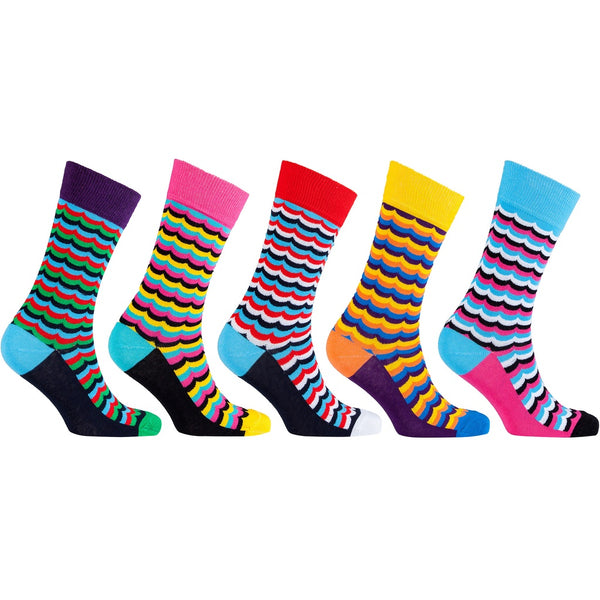 Men's 5-Pair Funky Patterned Socks-3053