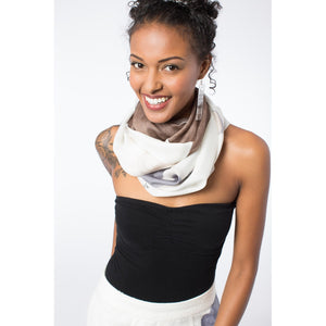 Ethereal Mixed Silk Infinity Scarf: Eggshell and Mauve