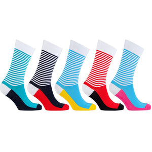 Men's 5-Pair Colorful Striped Socks-3049