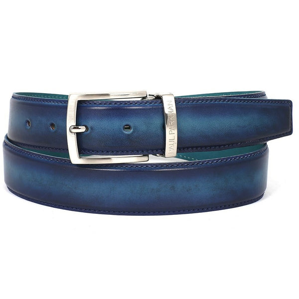 PAUL PARKMAN Men's Leather Belt Dual Tone Blue & Turquoise (ID#B01-BLU-TRQ)