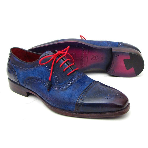 Paul Parkman Men's Captoe Oxfords Blue Suede (ID#024-BLUSD)