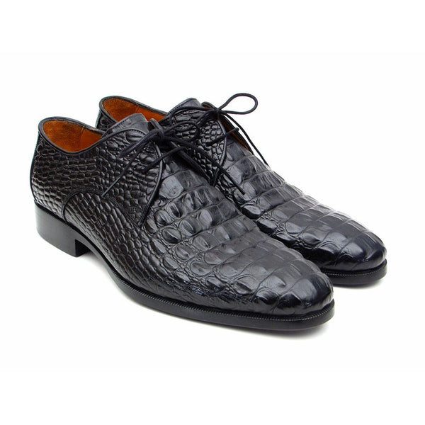 Paul Parkman Black Crocodile Embossed Calfskin Derby Shoes (ID#1438BLK)