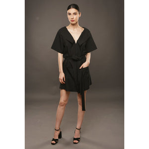 Black Mini Robe Dress with Pockets and Cord