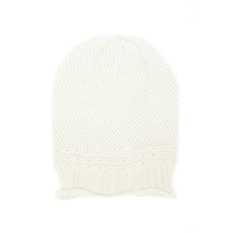 White Net Crochet Lightweight Beanie Hat