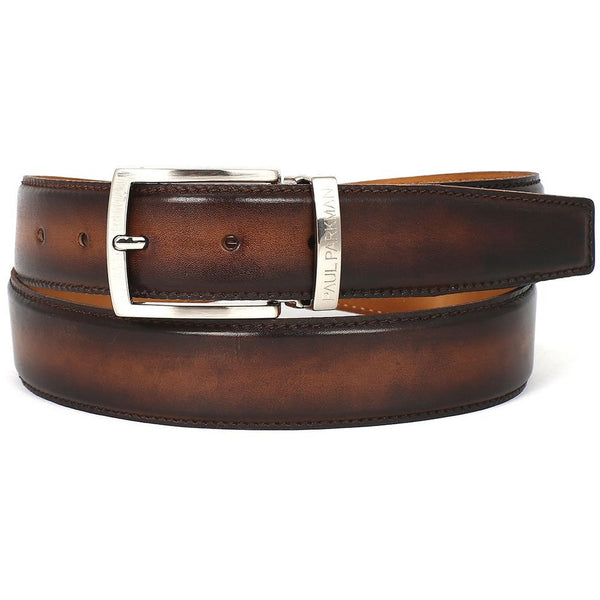 PAUL PARKMAN Men's Leather Belt Hand-Painted Brown and Camel (ID#B01-BRWCML)