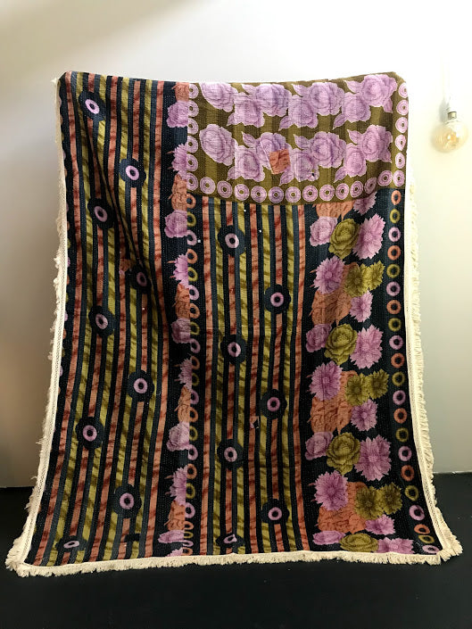 Vintage Kantha with Fringe