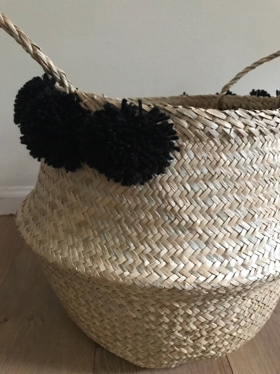 Medium Seagrass Basket with Black Pom Poms
