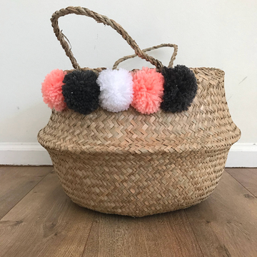Medium Pom Pom Seagrass Basket with Pom Poms