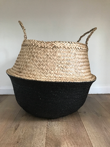 Large Black Dipped Seagrass Basket