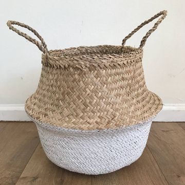 Small White Dipped Seagrass Basket