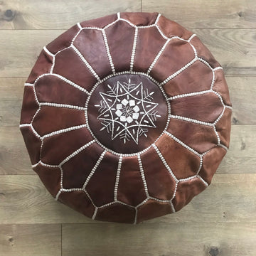 Moroccan Leather Pouf
