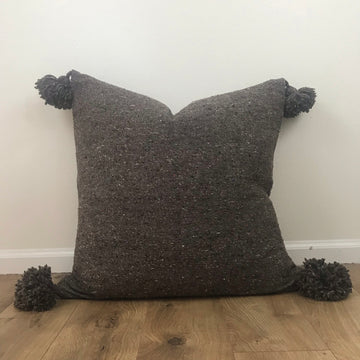 Pom Pom Pillow, Grey