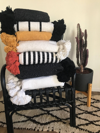 Moroccan Pom Pom Blanket, Medium