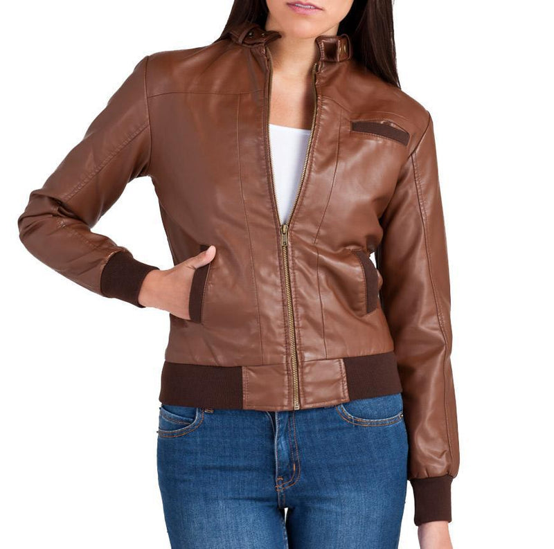 Women Bomber Leather Jackets: Bendy - Xosack