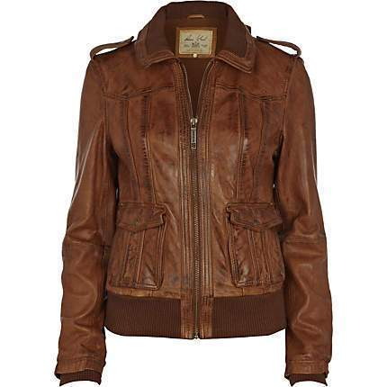 Brown Women Bomber Leather Jackets - Xosack