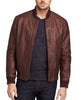 Men Bomber Leather Jackets: Dark Brown