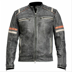 Men's Retro 2 Cafe Racer Biker Vintage Motorcycle Distressed Moto Leather Jacket