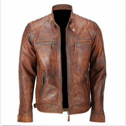 Mens Biker Quilted Brown Cafe Racer Vintage Motorcycle Distressed Leather Jacket