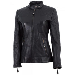 Cafe Racer Black Ladies Leather Jacket - Xosack