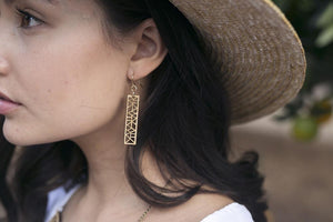 Geo Rectangle Earrings One Happy Leaf