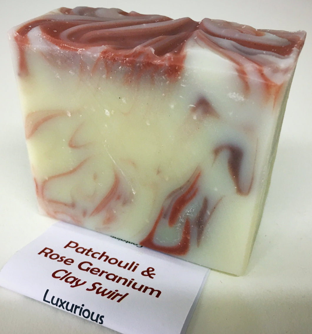 Robyn's Soap Block - Patchouli & Rose Geranium Clay Swirl - Here and There Makers